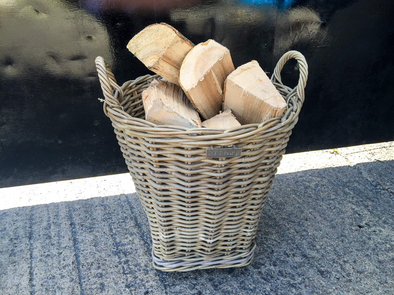 Round Log Basket with Tin Liner
